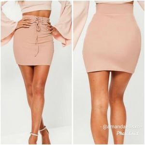 Missguided Ribbed Highwaisted Mini Bodycon Skirt